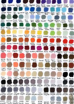 I love prismacolor markers, girl has a huge selection of colors. Prismacolor Color Chart by KatWynn47.deviantart.com