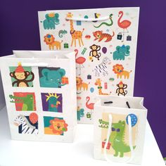 Zooniverse Gift bags - 3 different sizes with fun animal designs Animal Design, Toy Story, Gift Bags, Gift Wrapping, Stationery, Pencil, Holiday Decor, Fun, Gifts