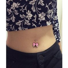Dandy Pink and White Polka Dot Bow Belly Ring | Body Candy Body Jewelry #bodycandyfans