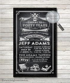Poker and Cigars 40th Birthday Party Invitation