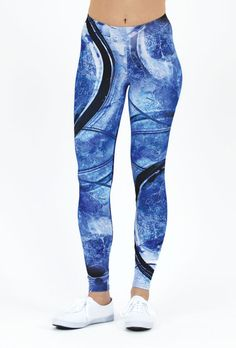 Arctic Flows – Leggings // Axly // A vibrant Lapis Blue shattered ice texture complimented by cascading waves. Axly leggings are mid-rise and perfect for yoga or street style - athleisure wear at it's best. 82% polyester / 18% spandex. Made in USA.