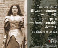 Yes the Lord will work wonders for me - St. Therese of Lisieux Quotes