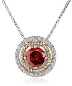 52% Off was $249.00, now is $119.00! S&G Sterling Silver and 14k Yellow Gold with Diamond Halo Pendant Necklace, 18""