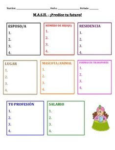 """This is a great activity for students to do when practicing the future tense in Spanish! Students work in partners to come up with options for the """"MASH"""" board and then create sentences to talk about what their future will be like. My students loved this! Spanish Games, Spanish Activities, Interactive Activities, Spanish Lessons, Spanish Grammar, Spanish Teacher, Spanish Classroom, Teaching Spanish, Future Tense Spanish"""