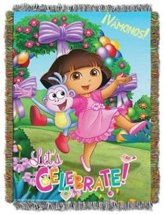 """Dora the ExplorerTM """"Celebrate Dora"""" Tapestry Throw. Dora the explorer videos to inspire and motivate kids in school and in home activities.  Dora videos include Dora and Boots, Dora and Diego, Dora best friends, other Dora characters, Dora cartoons, dora explorer girls in partial or full episodes. Dora show and dora games in English, Spanish and other languages. Dora is so popular for kids in school because it entertains and educate. Dora are available for online shopping."""
