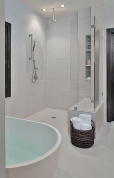 To make a small bathroom appear bigger keep everything the same tone/value as far as possible. Having different coloured walls, floor and ceiling visually cuts up the space.