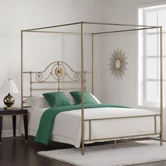 Medallion Brushed Gold Queen Bed - Overstock Shopping - Great Deals on Beds