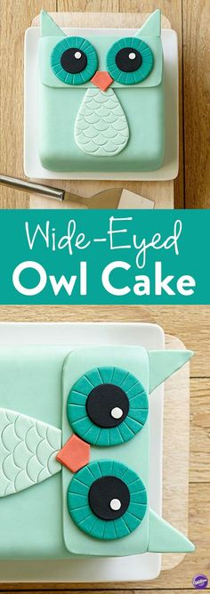 How to Make a Wide-Eyed Owl Cake – Owls are hot, and this cake is especially fun with the teal and orange shades used. Decorating is easy with our Decorator Preferred Fondant. Cakes To Make, Fancy Cakes, Cute Cakes, How To Make Cake, Owl Cakes, Cupcake Cakes, Cake Fondant, Fondant Birthday Cakes, Simple Fondant Cake