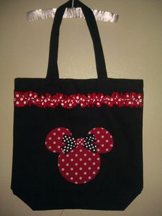 Personalized Minnie Mouse Inspired Tote Bag Red Black by AvaBabyCo, $18.00
