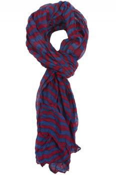 Burgundy and Navy Striped Scarf