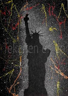 July silhouette, fireworks a la Pollock lesson. Artists For Kids, Art For Kids, Fireworks Craft, School Art Projects, Craft Projects, Art Lessons Elementary, Art Classroom, Classroom Projects, Classroom Ideas