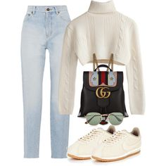 A fashion look from September 2017 featuring Yves Saint Laurent jeans, NIKE boots and Gucci backpacks. Browse and shop related looks.