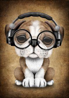 English Bulldog Puppy Dj Wearing Headphones and Glasses