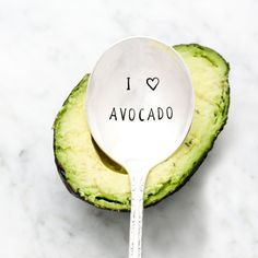 Vintage spoon, hand stamped with I (heart) Avocado. Rounded style is perfect for scooping avocados to make guacamole. You will receive the
