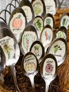 DIY Garden Markers- Thinking this could be altered to have math facts or spelling/sight words that can then be hid around the school or garden. Hmmm...