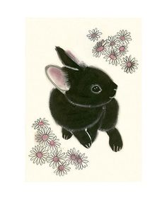 Black Bunny Rabbit art print  4 for 3 SALE by matouenpeluche, $17.00