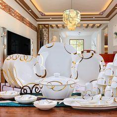 Бесплатная доставка посуда набор Цзиндэчжэнь керамическая посуда откровенно 56 шт. фарфора посуда набор посуды, тарелки, миски