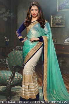 Buy Bestseller Latest Designer Turquoise Green And Off White Georgette And Net Saree With Banglori Silk Blouse - DMV15540 for women online  #Designersaree #bestsellerdesigns #georgette #netsaree #partywear #womenfashion #shoppingonline
