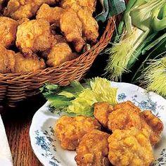 Fried corn nuggets.