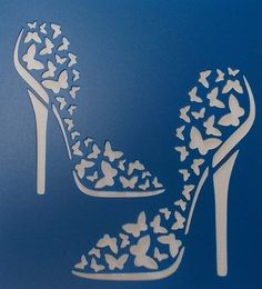 Butterfly Shoes Stencil by kraftkutz on Etsy Mais