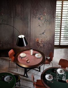 Wallpaper with floral pattern LIBELLULA Contemporary Wallpaper 2016 Collection By Wall&decò design Lorenzo De Grandis Wallpaper Collection, Wallpaper 2016, Wall Wallpaper, Deco Restaurant, Restaurant Design, Inspiration Wand, Contemporary Wallpaper, Mural Wall Art, Deco Design