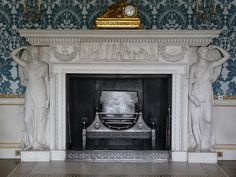 neoclassical fireplace in the Drawing Room at Kedleston Hall - Robert Adam