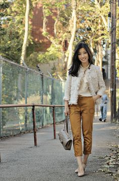 Malang Jacket/UniQUEEN. Pants, belt & blouse: H Bag: Chanel taupe flap from '09