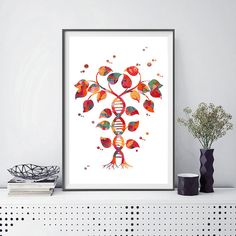 DNA tree of life watercolor print Dna double helix abstract genetic print Tree of life with DNA trunk poster Dna shaped tree biology art [1004] This is a fine art watercolor print of my original handmade watercolor, digitally reworked. ♥ MATERIALS: High quality fine art prints (Giclee),