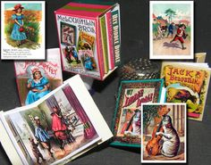 4-Book Boxed Collection of McLoughlin Bros Children's Classics pre-printed kit: ~ Jack and the Bean Stalk circa 1872 ~ Little Miss Muffet circa 1882 ~ The Story of the Three Bears circa 1897 ~ Hey Diddle Diddle (The Cat and the Fiddle) circa 1905 18.464mmw x 25.035mmh x 3.023mmd (book cover each). Box included. Three are picture books and Miss Muffet's nursery rhymes are re-typeset in a serif font. PaperMinis.com