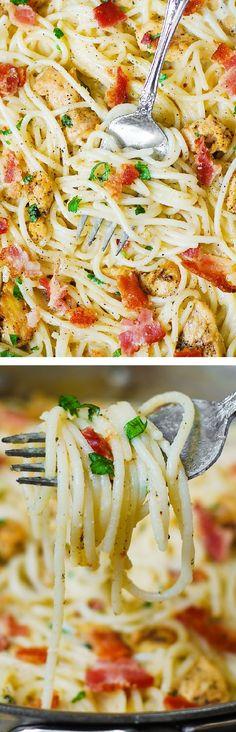 Chicken and Bacon Pasta in a homemade creamy Cilantro-Lime Alfredo Sauce.