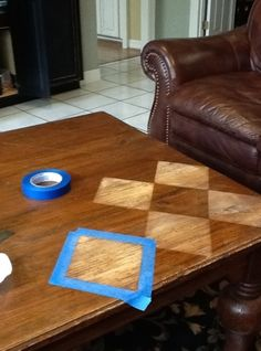No link. Use steel wool to transform an old table. Could do stripes, chevron, et cetera.