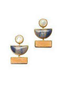 Geometry Earrings In Gold by Lizzie Fortunato Jewels Geometric Jewelry, Jewelry Trends, Women's Earrings, Geometry, Jewelry Box, Jewellery, Fashion Accessories, Bling, Jewels