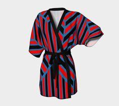 Black Red Blue Geometric Kimono