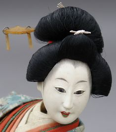 Antique Japanese Doll, Maiden of Genroku (item detailed views) Taisho Period, Green Lipstick, Japanese Doll, Flower Cart, Look Older, Pink Silk, Geisha, Making Out, Her Hair