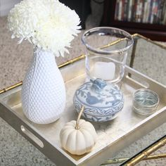 Blue and White Coffee Table Decor | Redefining Domestics