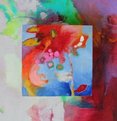 Original Small Abstract Painting Blue Red by kerriblackmanfineart, $45.00