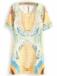 Orange Short Sleeve Applique Totem Print Dress