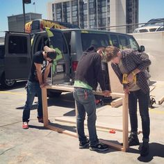 My boys! Eat your heart out Gosling.  #proud  //  Music dept Roadies @Alexander Collins, Eugene and Palumbo building their home. And by home, we mean a bed in a van for the upcoming #Thrice tour. Catch them on the road and ask any questions about Invisible Children to find out more.