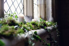 foliage and candles on window ledges