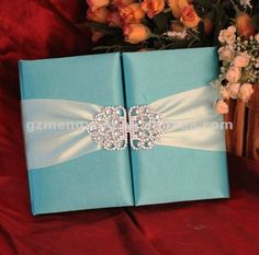 Tiffany Blue Silk Invitation Box With Shinning Rhinestone Embellishment ------T300