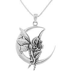 Carolina Glamour Collection CGC Sterling Silver Fairy Moon Dream... ($50) ❤ liked on Polyvore featuring jewelry, necklaces, white, sterling silver necklace pendant, long pendant necklace, pendants & necklaces, sterling silver pendant and white necklace