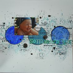 Saras pysselblogg - Sara Kronqvist Scrapbook page with acrylic paints, mists and watercolours