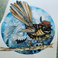 Steampunk Fantail in progress  #steampunk #illustration #painting #art #nzbirds #watercolor #watercolour #zentangle #cogs #gears #birdart #fantail #inked