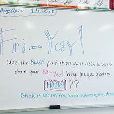What a great idea for a Friday morning! Excited to see what the kids come up with morning meeting ideas School Classroom, Classroom Activities, Classroom Organization, Classroom Management, Future Classroom, Classroom Whiteboard, 6th Grade Activities, Classroom Ideas, Beginning Of School
