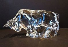 Signed Baccarat Crystal Bull Sculpture, Animal Figurine or Paperweight - MINT
