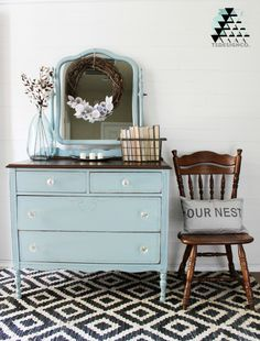 soft duck egg blue dresser with harp mirror painted with eco-friendly DIY furniture paint by Country Chic Paint Diy Furniture Dresser, Bedroom Furniture Makeover, Refurbished Furniture, Repurposed Furniture, Furniture Projects, Furniture Websites, Furniture Design, Duck Egg Blue Furniture, Painted Bedroom Furniture