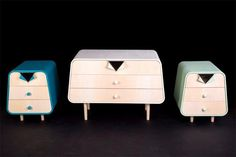 Unbutton, a furniture collection inspired by the clothes of Pin-Up models. The Unbutton Collection was designed by home decor designer Cristina Bulat. Design Furniture, Cabinet Furniture, Furniture Decor, Pin Up Poster, Style Retro, Furniture Inspiration, Interior Inspiration, Mid Century Furniture, Furniture Collection