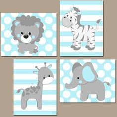 Baby Boy Nursery Wall Art Blue Gray Nursery Artwork Elephant Giraffe Zebra Lion Safari Animals De