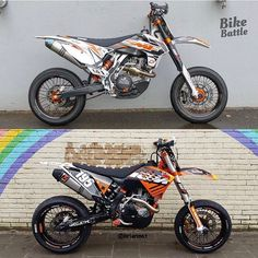 Via @bikebattle which KTM do you like best? #bikebattle #supermotocentral #supermoto #supermotard #ktm #500exc #450exc