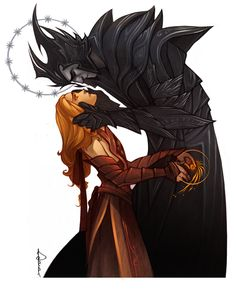 Hades and Persephone someone said, Hahaha I love the comparison. I know this artist though and I'm cracking up because it's so like hades and persephone. This is Sauron and his Lord Melkor! Hades Und Persephone, Dark Fantasy, Fantasy Art, Character Inspiration, Character Art, Das Silmarillion, Elfen Fantasy, Morgoth, J. R. R. Tolkien